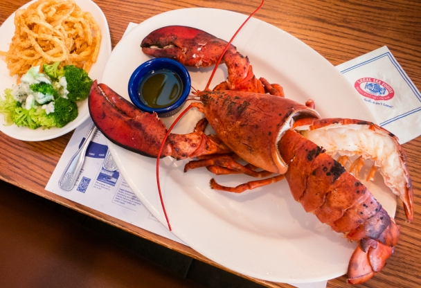 """Our giant Maine lobster cracked and the tail split for """"sharing"""" at Legal Sea Foods, Cambridge, MA, USA"""