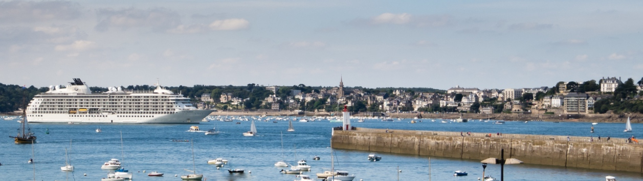 Our ship anchored at Saint-Malo, France