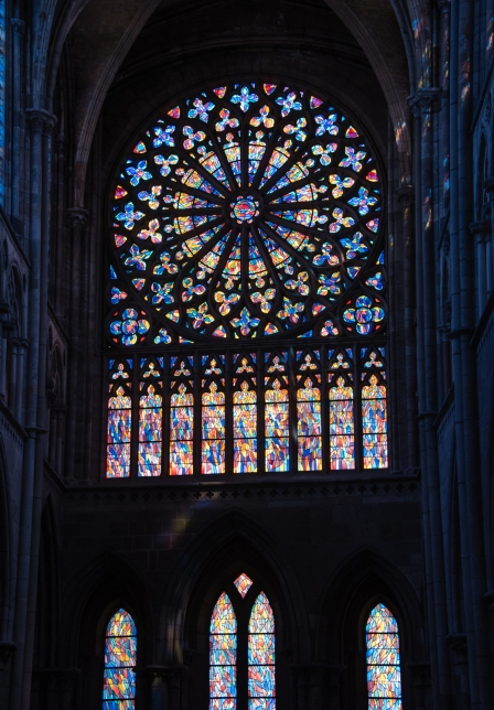 Rose window (stained glass) at Cathedrale St-Vincent de St-Malo in La Ville Intra-Muros (Walled City), Saint-Malo, France