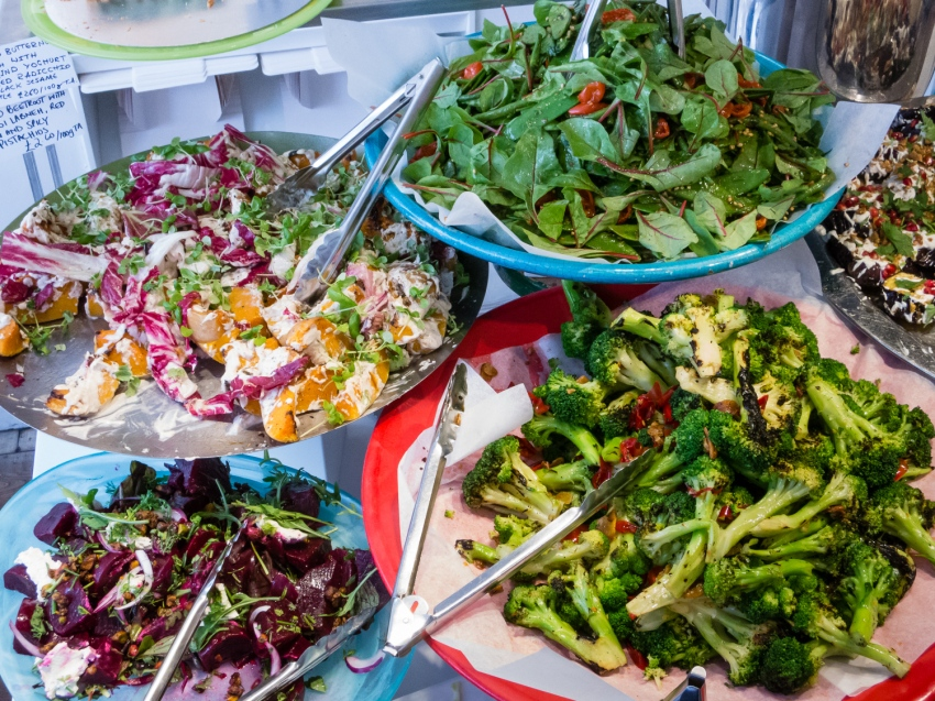 Salads selection at Ottolenghi's Deli, London, England