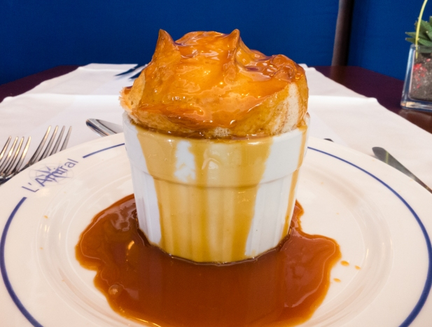 Soufle with hot caramel sauce, a la carte dessert at L'Amiral Restaurant, Concarneau, France