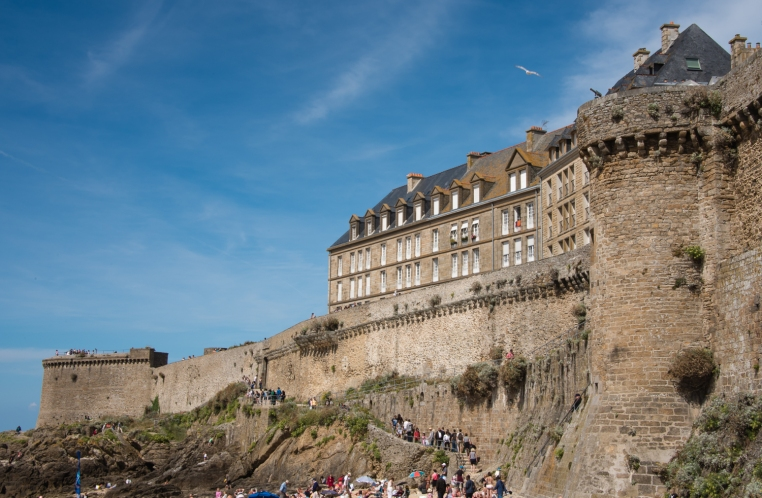 The impressive stone ramparts (built by French military architect Vauban) of the walled citadel of La Ville Intra-Muros (Walled City), Saint-Malo, France