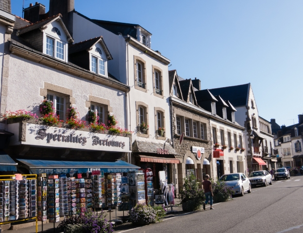 The main street of Pont-Aven, across from where Paul Gauguin lived and painted, Brittany, France