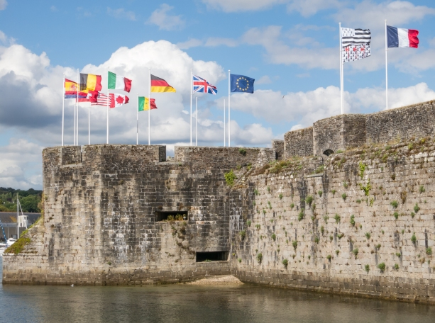 The ramparts on the Ville Close (Walled CIty) provide walkers with excellent views of the port of Concarneau, France