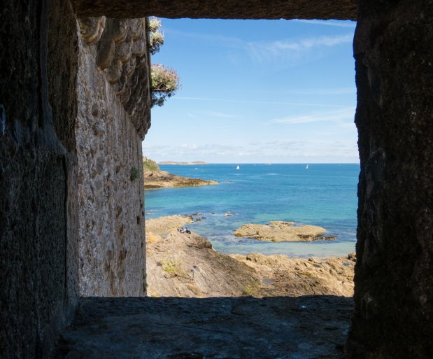 View from our circumambulation of the rampart walls of the English Channel from Tour Bidouane, Saint-Malo, France