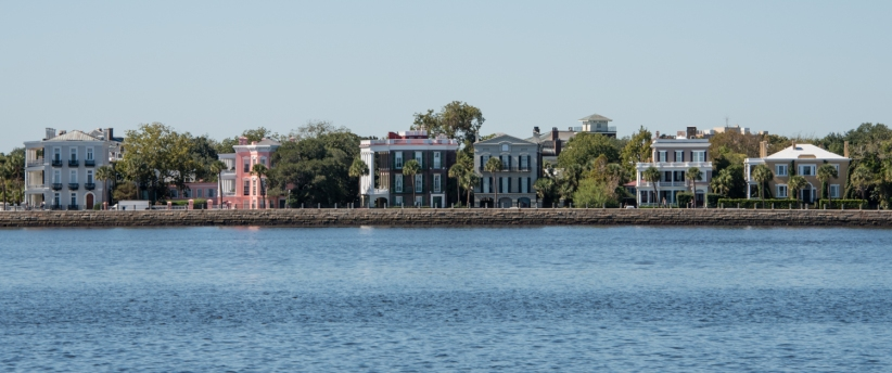 "18th and 19th century ""houses"" on East Battery Street overlooking Charleston Harbor, Charleston, South Carolina, USA"
