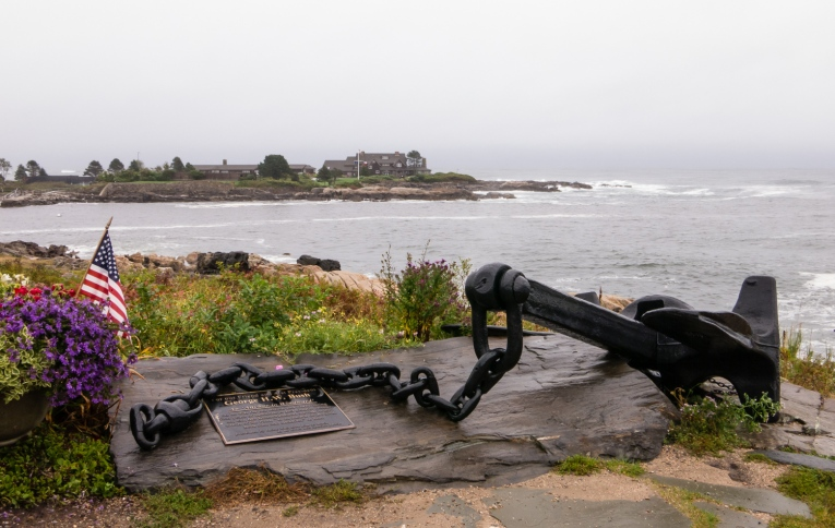 A Tribute to USA 41st President, George H. W. Bush, on the shoreline overlooking Walker's Point, Kennebunkport, Maine, USA