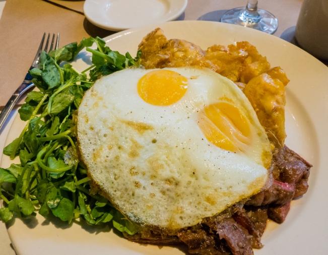 "American ""steak and fried eggs"" (breakfast at Landmarc, Time Warner Center), New York, NY, USA"