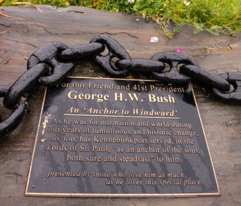 """An """"Anchor to Windward"""" --  tribute to George H. W. Bush on the shoreline overlooking Walker's Point, Kennebunkport, Maine, USA"""