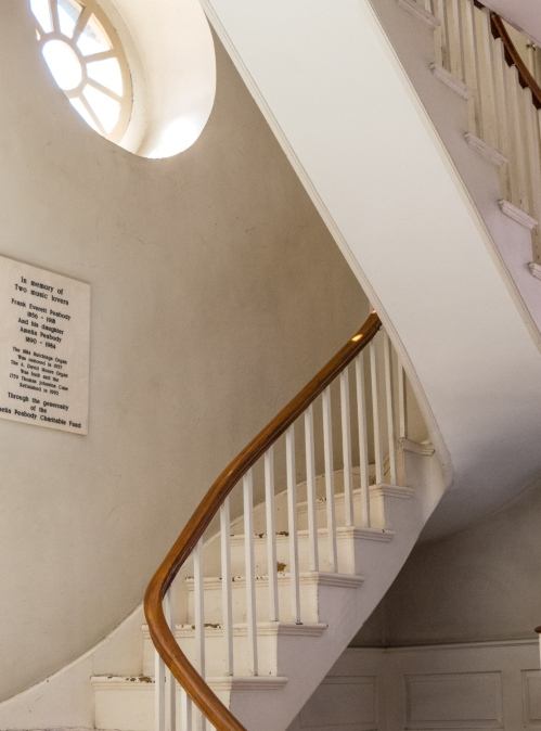 Beautiful interior stairway in Old North Church, Boston, Massachusetts, USA