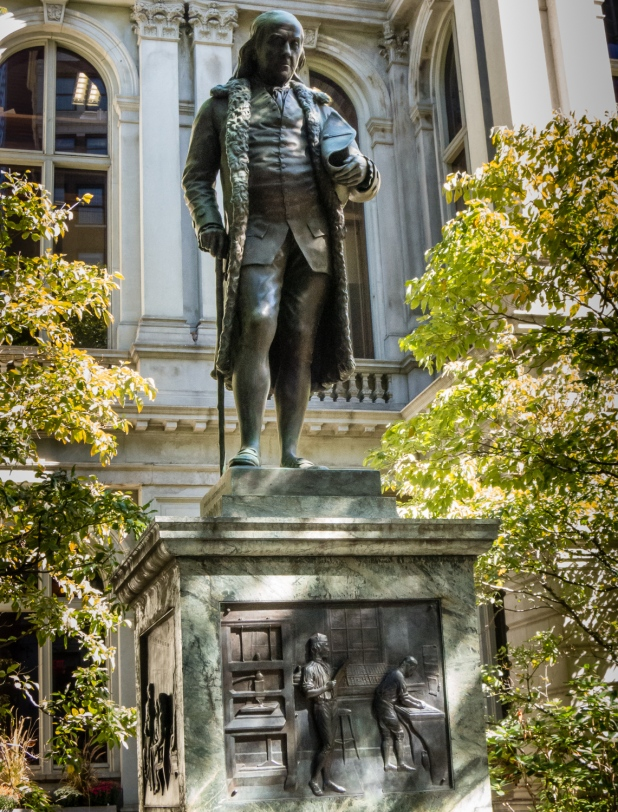 Benjamin Franklin, born in Boston 17 Jan. 1706, died in Philadelphia 17 Apr. 1790 -- statue at Old City Hall, Boston, Massachusetts, USA