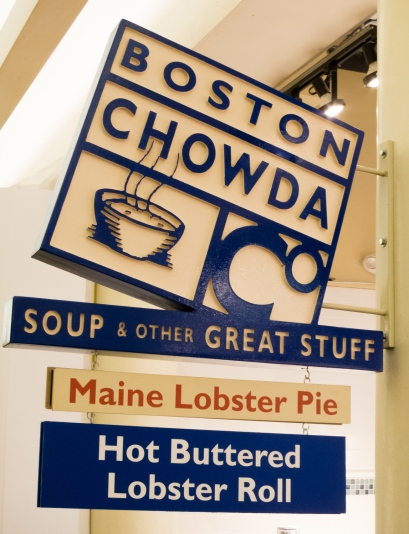 Boston Chowda restaurant stall in Faneuil Hall market, Boston, Massachusetts, USA