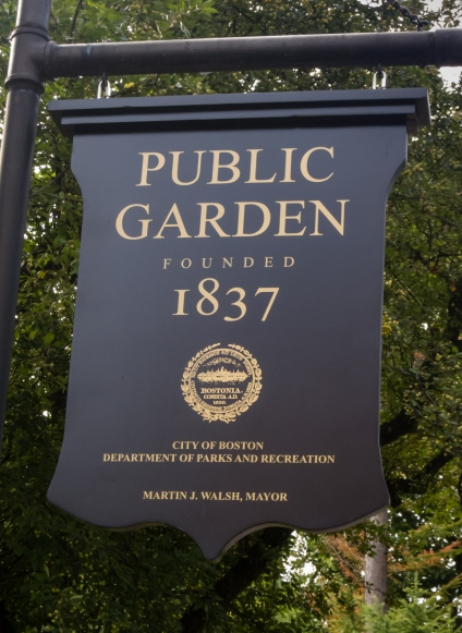 Boston Public Garden, founded 1837, is devoted to ornamental design, Boston, Massachusetts, USA