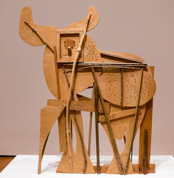 """Bull"". Cannes, 1958.  Blockboard, palm frond, and various other found objects.  The Museum of Modern Art, New York.  Gift of Jacqueline Picasso.  In ""Picasso Sculpture"", MOMA, New York, NY, USA"