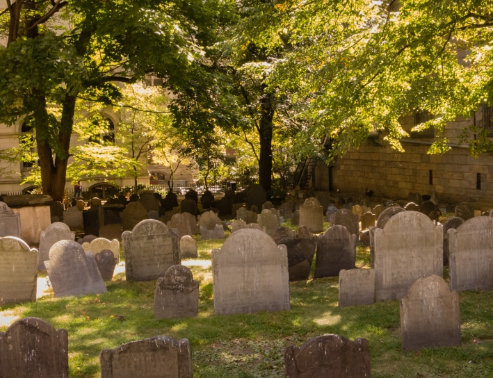 Burying Ground at King's Chapel, on The Freedom Trail, Boston, Massachusetts, USA