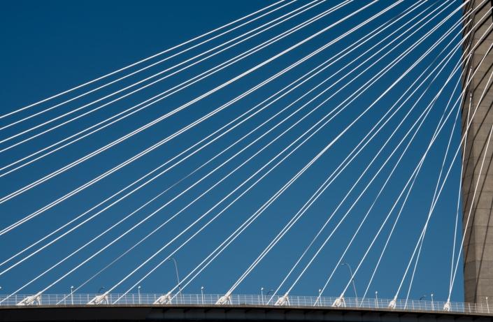 Cables of the Arthur Ravenel Jr. Bridge in Charleston Harbor, Charleston, South Carolina, USA