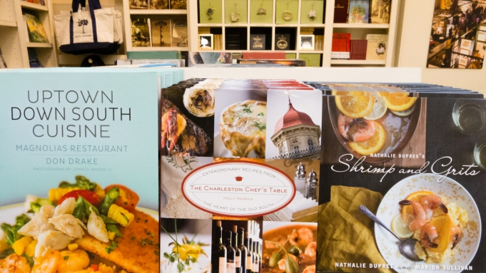 Charleston cookbooks (on sale in Charleston City Market), Charleston, South Carolina, USA