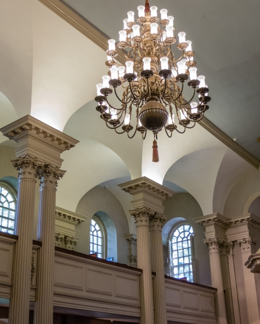 Detail of the interior, King's Chapel, on The Freedom Trail, Boston, Massachusetts, USA