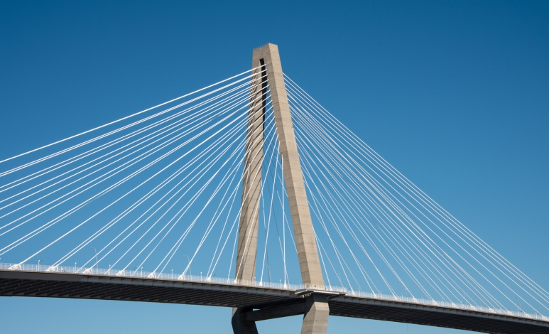 Diamond-shaped tower of the Arthur Ravenel Jr. Bridge in Charleston Harbor, Charleston, South Carolina, USA