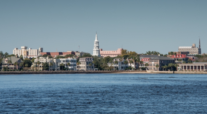 Downtown viewed from Charleston Harbor, Charleston, South Carolina, USA