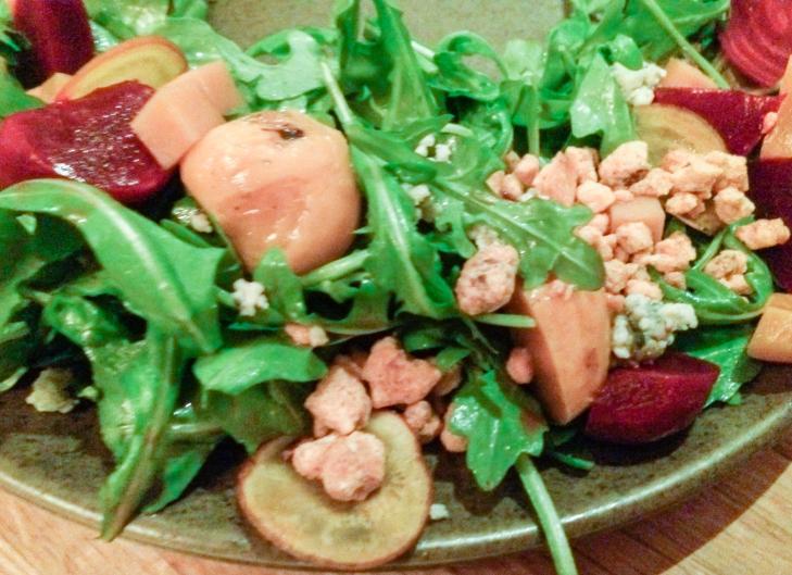 (First) Arugula Salad, Glazed Beets, Asher Blue, Candied VA Peanuts, Sweet Potato-Honey Vinagrette at Husk (restaurant), Charleston, South Carolina, USA