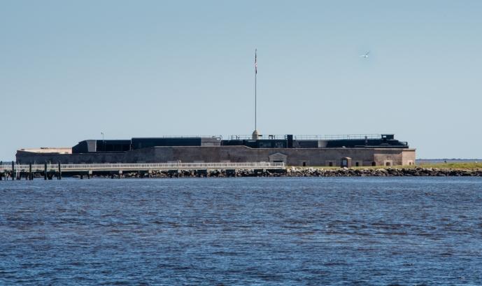 Fort Sumter (partially rebuilt after the Civil War) in Charleston Harbor, Charleston, South Carolina, USA