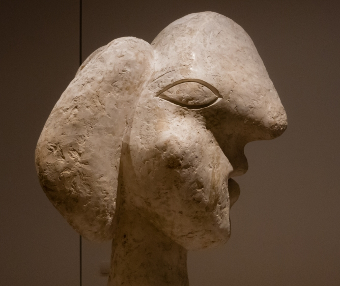 """Head of a Woman"". Boisgeloup, 1932.  Plaster.  The Museum of Modern Art, New York.  Gift of Jacqueline Picasso in honor of the Museum's continuous commitment to Pablo Picasso's art.   In ""Picasso Sculpture"", MOMA, New York, NY, USA"