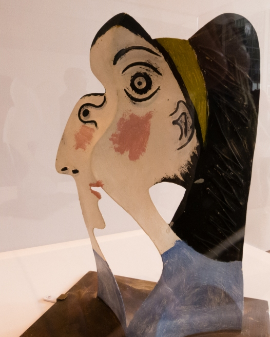 """Head of a Woman"". Mougins, 1962.  Painted sheet metal and iron wire.  Musee national Picasso-Paris.  Dation Pablo Picasso.  In ""Picasso Sculpture"", MOMA, New York, NY, USA"