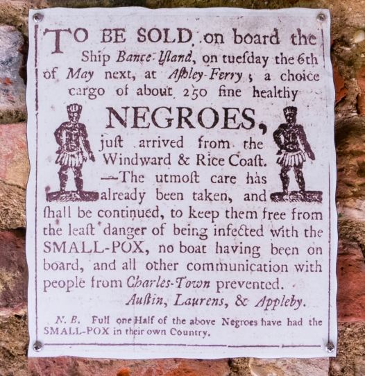 Historic circular advertising slave sale, now in in a slave cabin museum at Boone Hall Plantation, Charleston, South Carolina, USA