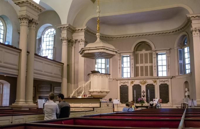 Interior view, King's Chapel, on The Freedom Trail, Boston, Massachusetts, USA