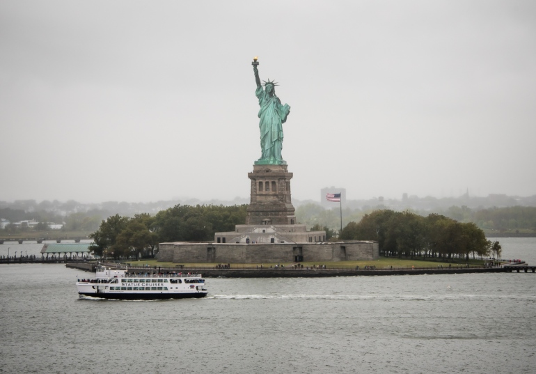 Liberty Island and the Statue of Liberty, New York, New York, USA