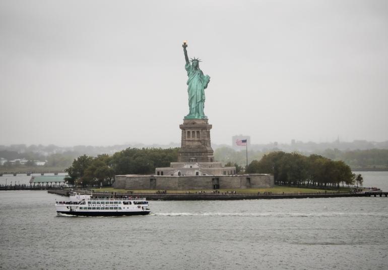 Liberty Island and the Statue of Liberty, New York, New York, USA