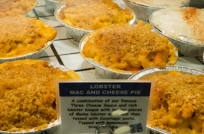 Lobster mac and cheese pies at Boston Chowda in Faneuil Hall, Boston, Massachusetts, USA