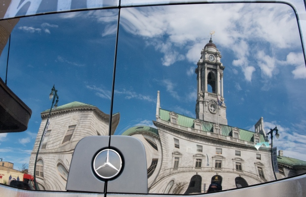Mercedes reflection of City Hall, Portland, Maine, USA