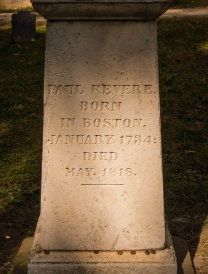 Paul Revere's tomb, Granary Burying Ground, on The Freedom Trail, Boston, Massachusetts, USA