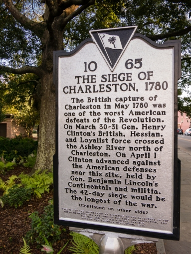 Plaque commemorating the capture of Charleston in 1780 by the British, Charleston, South Carolina, USA