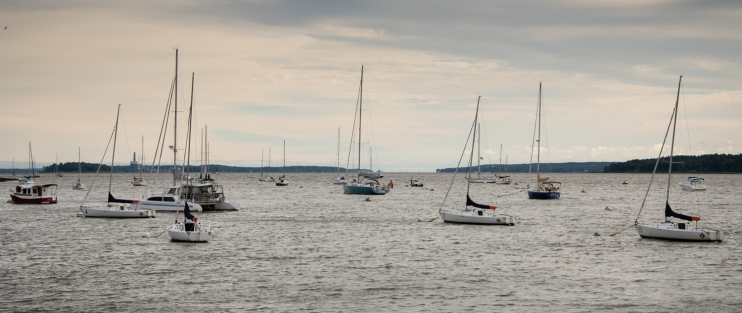 Portland Harbor looking towards Casco Bay, Portland, Maine, USA