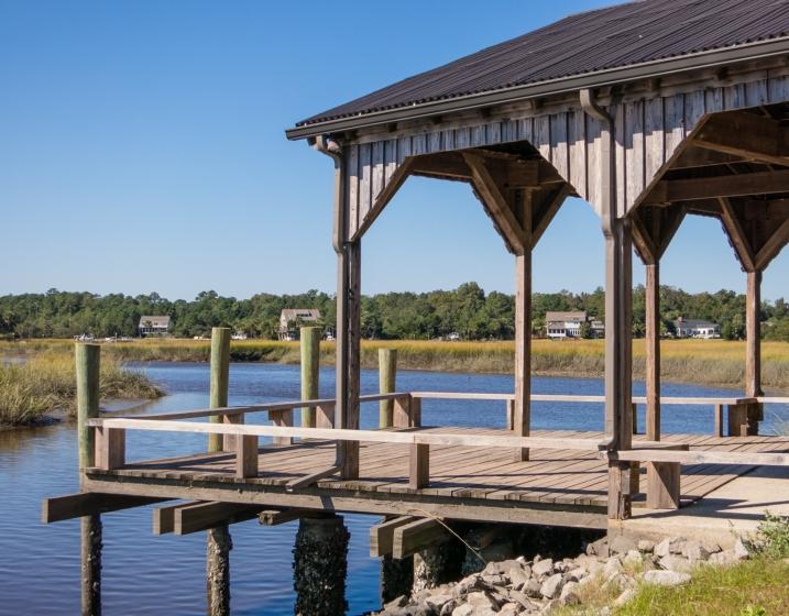 Reconstructed historic dock at Boone Hall Plantation, Charleston, South Carolina, USA