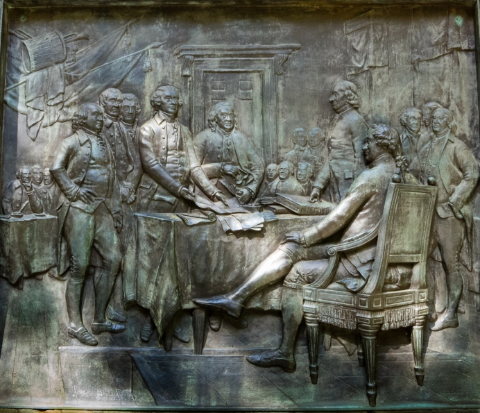 Relief sculpture on Franklin's statue -- Declaration of American Independence 4 July 1776, Boston, Massachusetts, USA