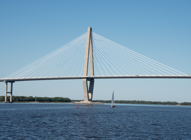 Sailing under the Arthur Ravenel Jr. Bridge in Charleston Harbor, Charleston, South Carolina, USA