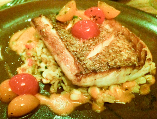 (Supper) NC Snapper, Carolina Gold Rice Purloo, LA Shrimp, Sweet Corn, Heirloom Cherry Tomatoes at Husk (restaurant), Charleston, South Carolina, USA