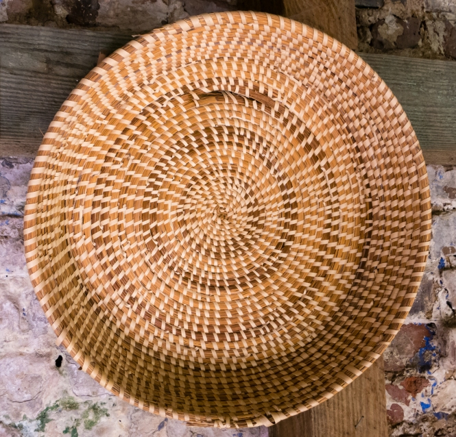 Sweetgrass basket made by a slave at Boone Hall Plantation, Charleston, South Carolina, USA
