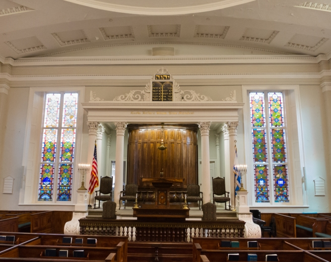 Synagogue interior (sanctuary) of Kahal Kadosh Beth Elohim, the oldest Synagogue in continuous use in the US, Charleston, South Carolina, USA