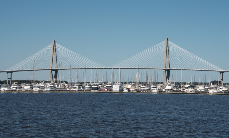 The Arthur Ravenel Jr. Bridge and Mount Pleasant Yacht Harbor viewed from Charleston Harbor, Charleston, South Carolina, USA