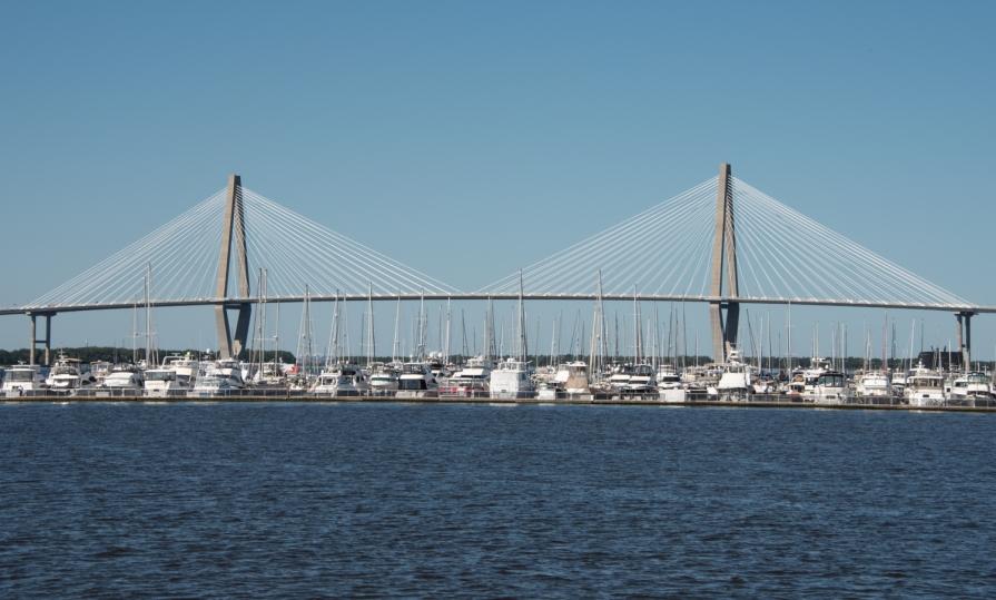 The Arthur Ravenel Jr. Bridge and Mount Pleasant Yacht Harbor viewed from Charleston Harbor, Charleston, South Carolina, USA