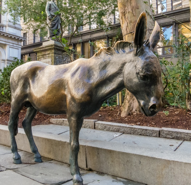The Democratic Donkey (opposite The Republican Elephant) at Old CIty Hall, Boston, Massachusetts, USA