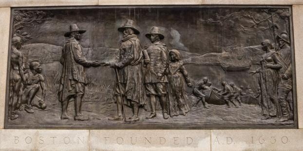 The founding of Boston, 1630, sculpture, Boston Public Garden, Boston, Massachusetts, USA