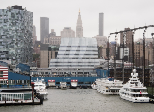 The new Whitney Museum of American Art (architect - Renzo Piano) -- center --overlooking Chelsea Piers and the Hudson River, Midtown New York, New York, USA