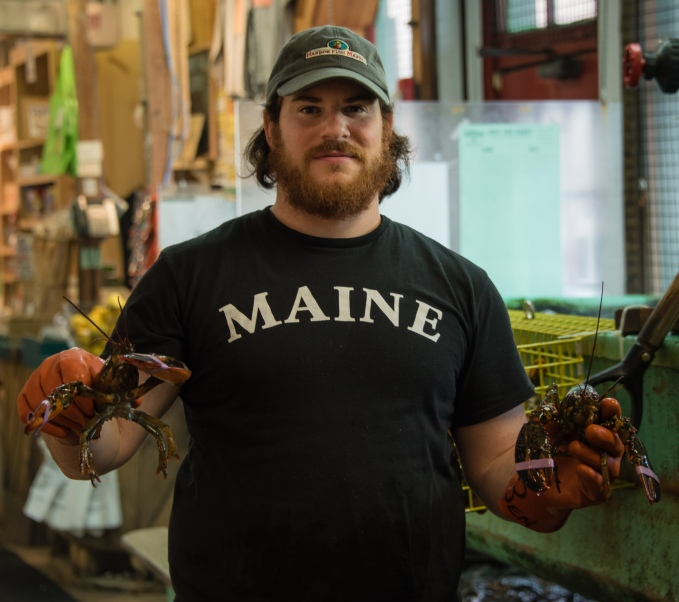 The sign says it all -- LOBSTERS, fish and clams, Harbor Fish Market, Portland, Maine, USA