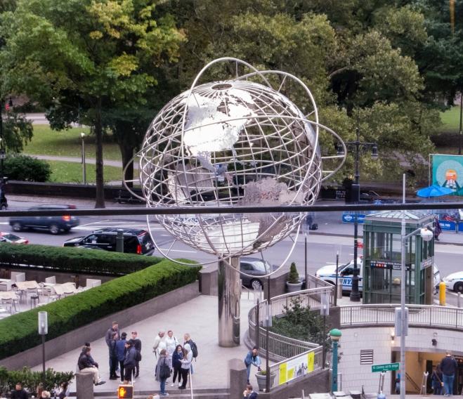 The steel world globe at Columbus Circle, New York, NY, USA